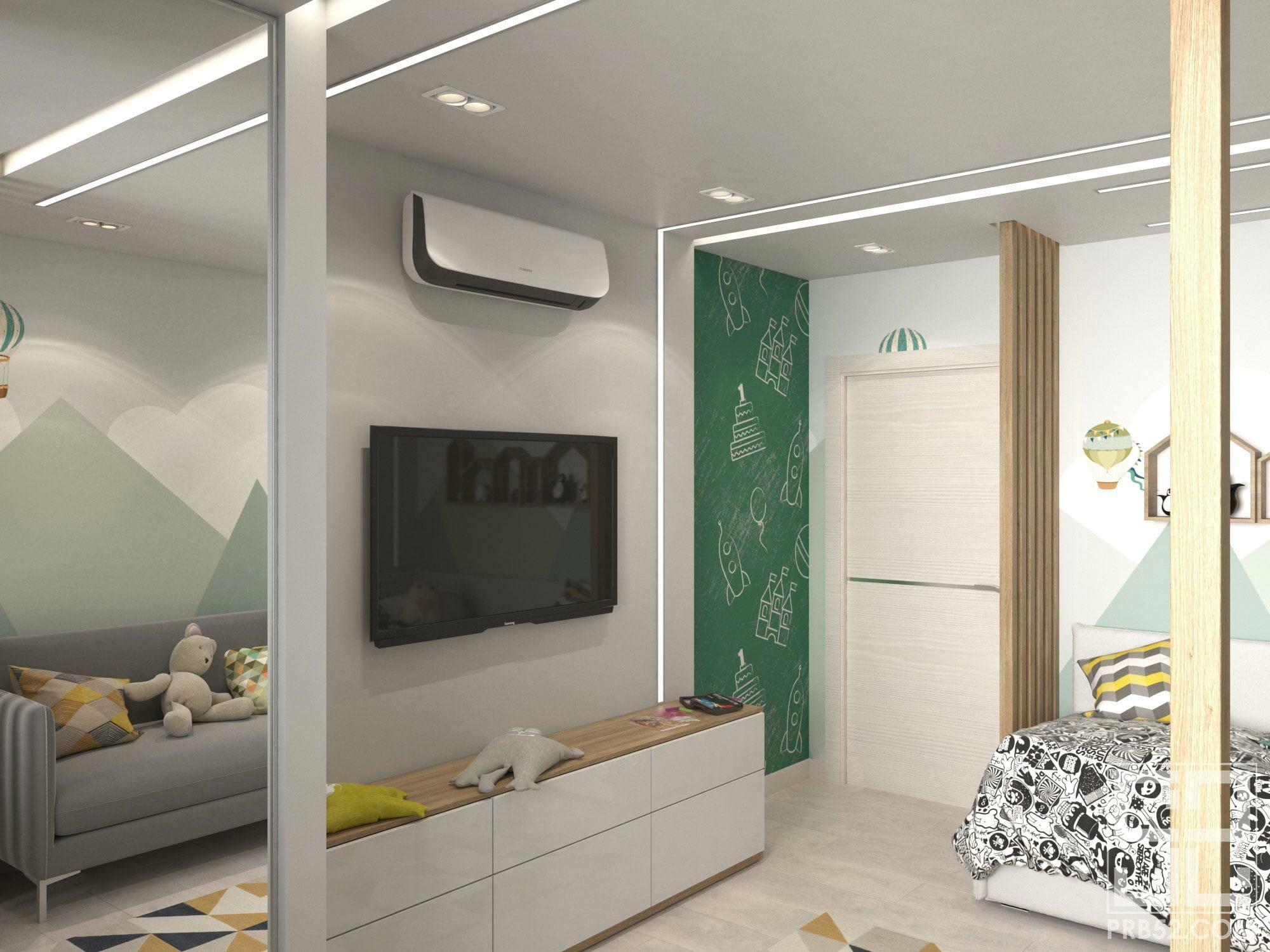 дизайн интерьера детской комнаты со стеной для рисования