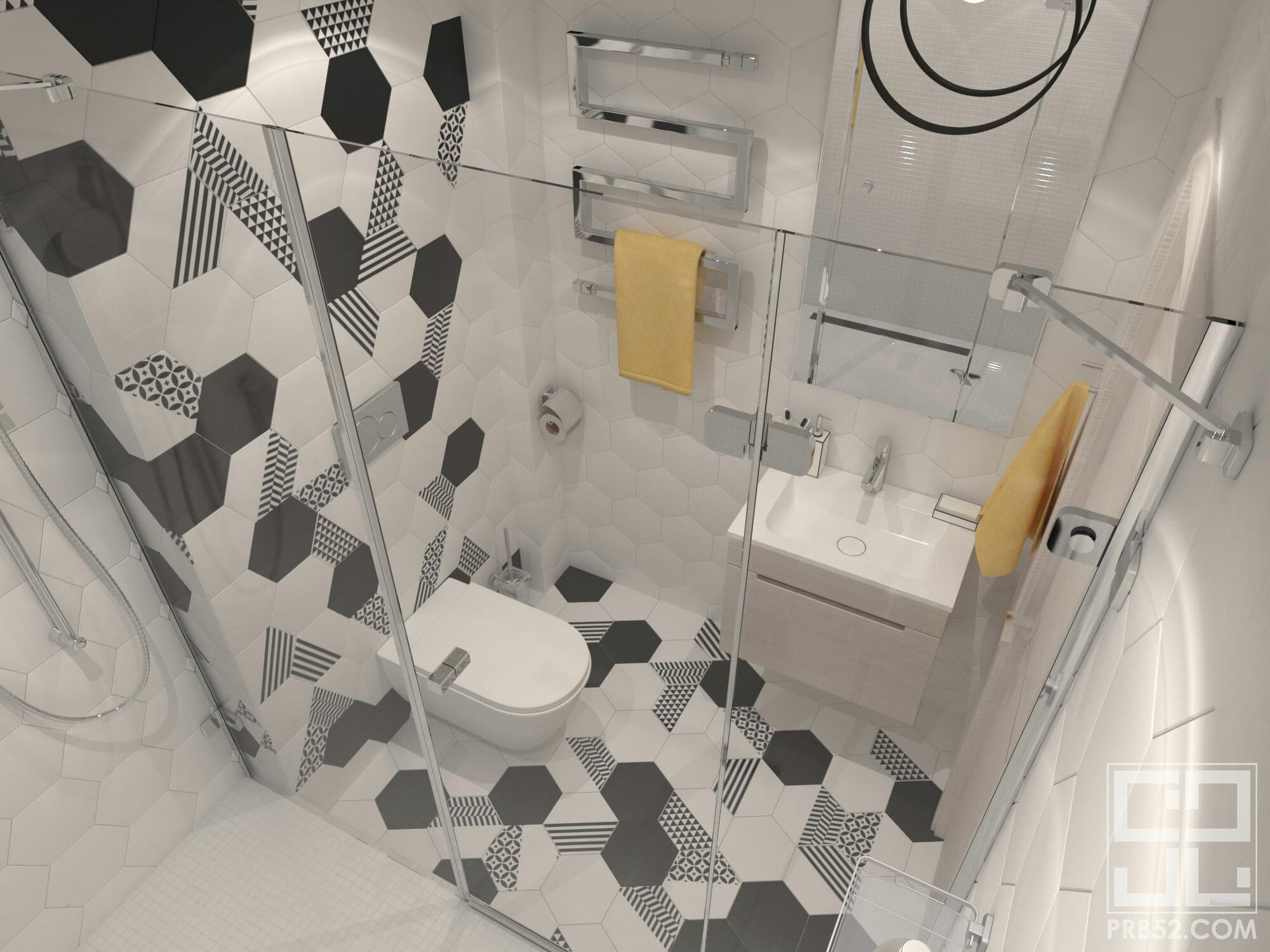 дизайн интерьера современной ванной комнаты с черно-белой плиткой