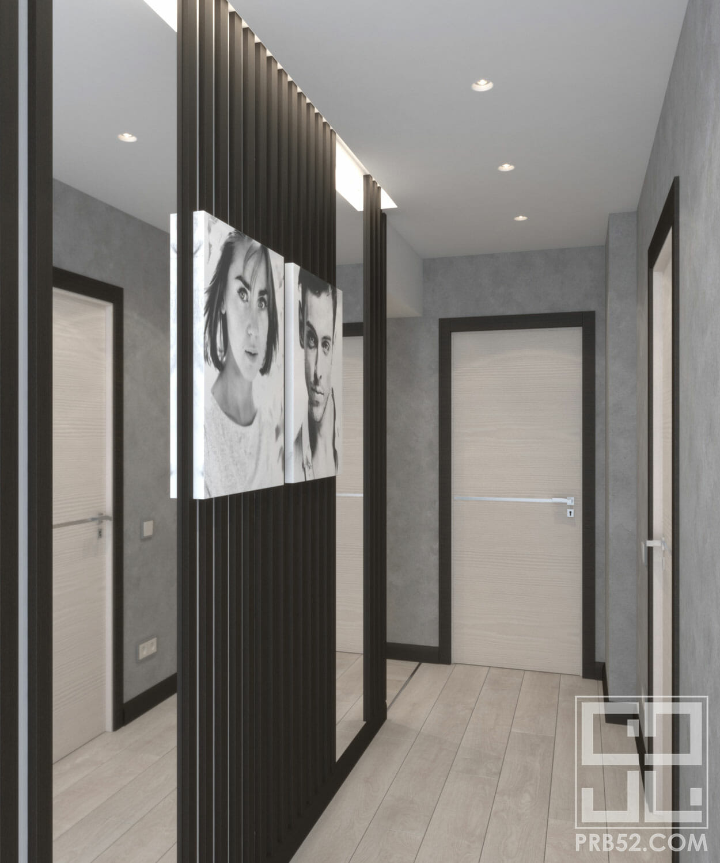 дизайн интерьера коридора с зеркалами