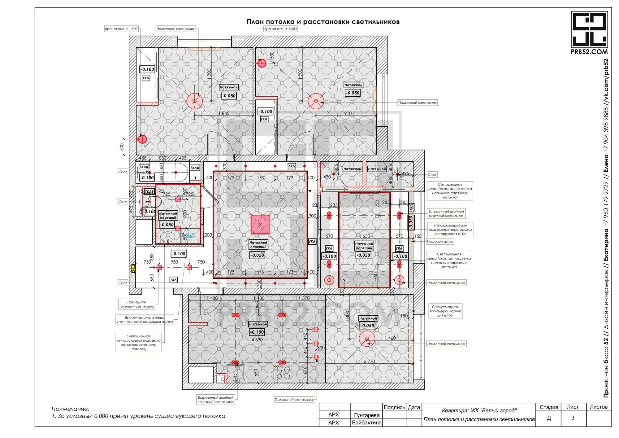 дизайн интерьера планы потолка и расстановки светильников