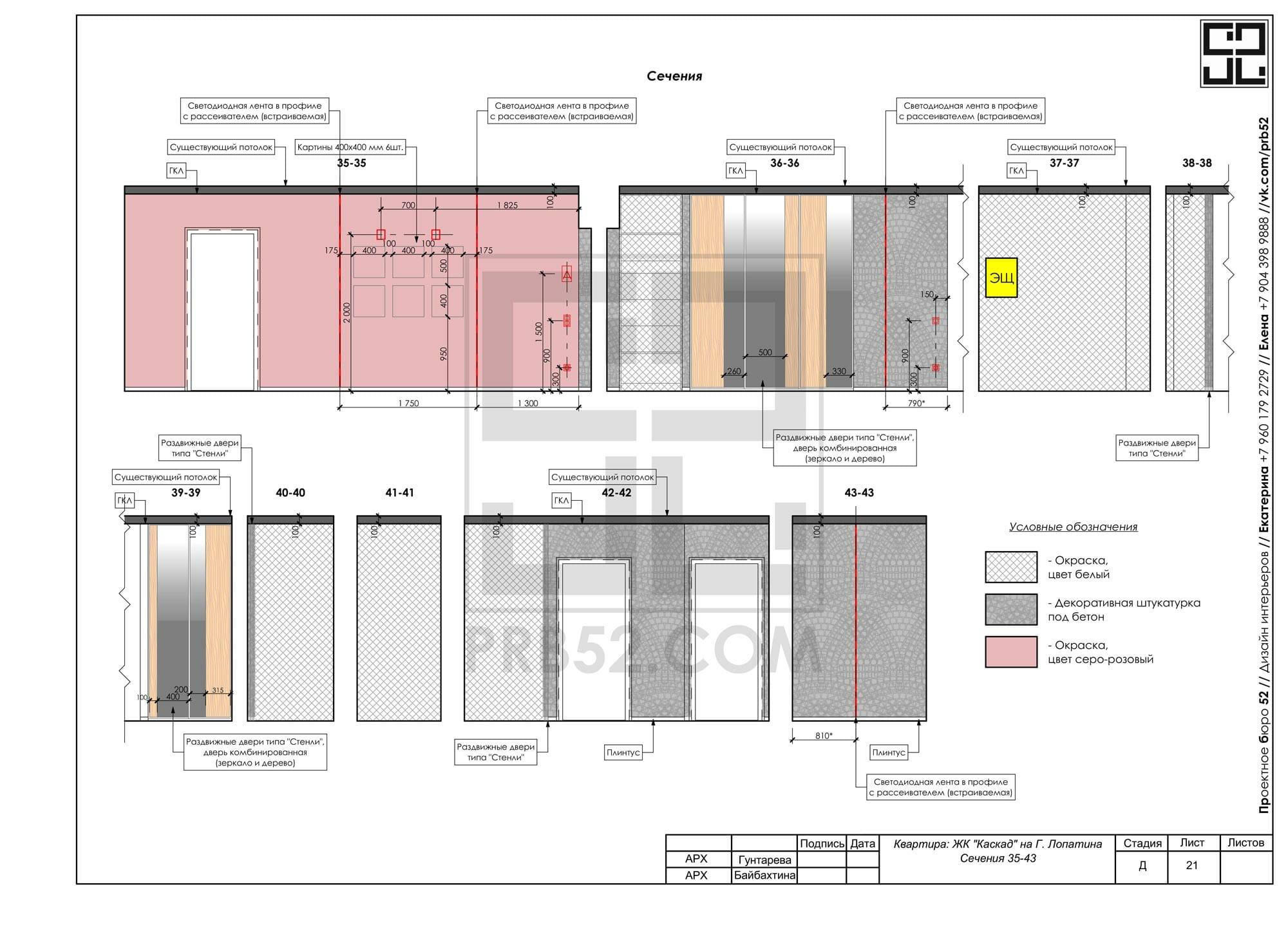 дизайн интерьера планы развертки сечения