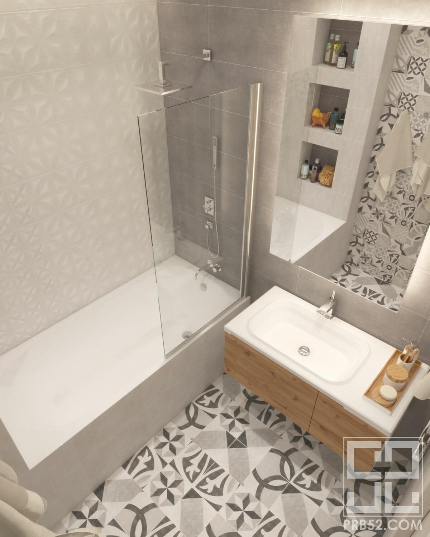 дизайн интерьера ванной комнаты с подвесной раковиной