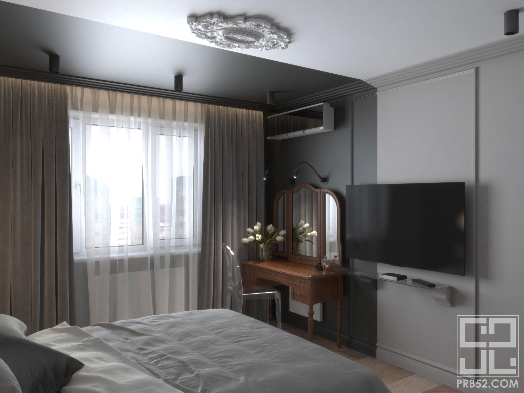 дизайн интерьера спальни с туалетным дамским столиком