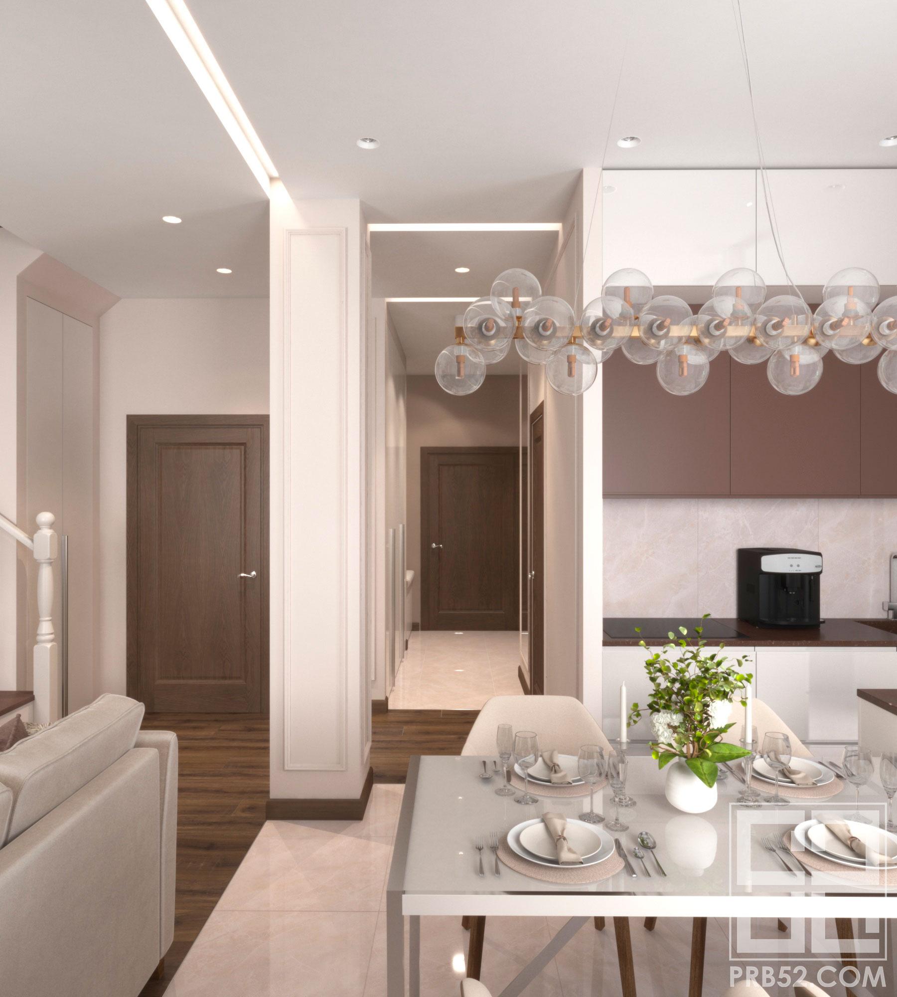 дизайн кухни совмещенной